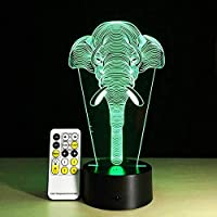 JJZXD Night Light - 3D Illusion Night Night for Kids/Boys/Children Bedroom Babies Room Remote Control Color Lights
