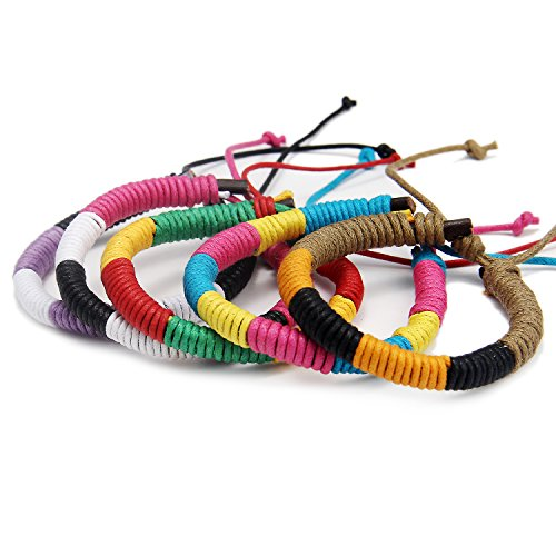 DonDon Unisex-Armband Freundschaftsarmband SET 5 Stück bunt-mehrfarbig
