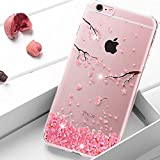 EMAXELERS iPhone 6S Hülle Glitzer Bling Kristall Diamant Slim Silikon Transparent Bumper Kreative TPU Etui Handy Tasche für Apple iPhone 6/6S 4.7 Zoll,Cherry Blossom