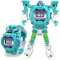 Prenine Reloj electrónico de Juguetes educativos, Dibujos Animados Lindos Transformers Robot Reloj de Pulsera electrónico Juguete Educativo Regalo Niños Niños