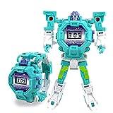 Konesky Guarda i Robot dei Bambini Orologio elettronico di deformazione per Bambini Cartoon Transformers Robot da Polso per Il Regalo del Giocattolo di Natale (Blu Verde)