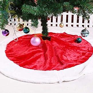 Falda de Árbol para Navidad Blanco Decoración Roja Vintage 120cm Manta Terciopelo Redonda de Cusfull para Pino Artificial Grande de Fiesta