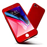 iPhone 7 Case, ORETech 360 Full Body Protection Ultra-Thin Case with [2-Pack Transparent Tempered Glass Screen Protector], Anti-Scratch Hard PC Slim Case for iPhone 7 Cover - 4.7 inch - Red