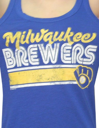 MLB Womens Milwaukee Brewers Athletic Crew-Neck Tank Top (Vintage Look) Blue