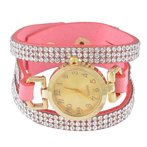 Red Velvet Strass (Damen Rosa Korean Velvet Vintage Armbanduhr mit Strass Anhänger Quartzuhr Analog)