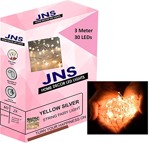 JNS WhOLESALE 3 m Battery Operated Silver 30 LED Decorative Strings Fairy Lights (Light Warm White Yellow)