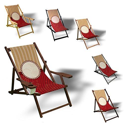 Muster Tapete - Liegestuhl bedruckt Balkon Garten Sonnenliege Relax Holz Terrasse   Variante:ohne Armlehne, Dunkelbraun