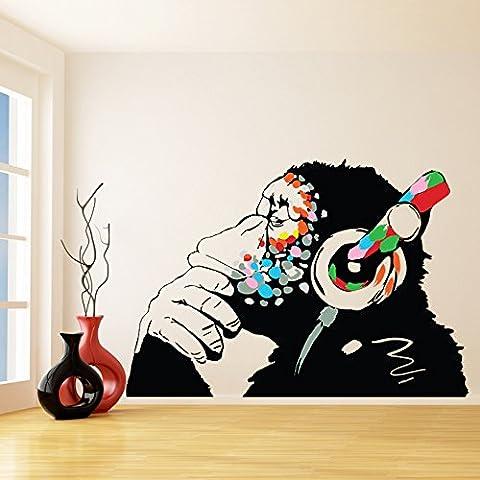 Banksy Décalque Mural Vinyle Singe Avec écouteurs / Chimp écoute