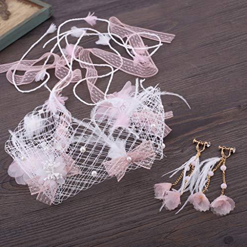Hochzeit Schleier Stirnband Ohrringe Set Rosa Blume Fake Perlen Quaste Feder Fee Hochzeit Zubehör ()