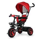 Fascol 6 en 1 Triciclo para Niños con Asiento Giratorio Adecuado para Mayores de 18 Meses - 5 años Color Roja