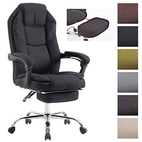 CLP Drehstuhl CASTLE, Chefsessel mit verstellbarer Fuß-Ablage und Rückenlehne, ergonomischer Bürosessel mit Stoff-Bezug, stufenlose Sitzhöhenverstellung, Schwarz