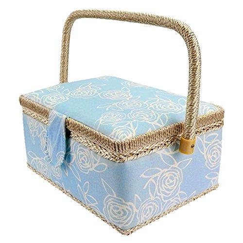 Sharplace Vintage Nähkasten Nähkästchen Nähbox Stoff Nähkorb Nähset Nähzubehör Nähzeug Nähkörbe - Blau