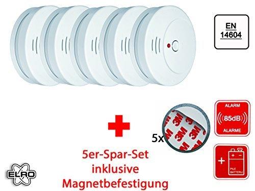 5er Set optischer Rauchmelder inkl. Magnethalter, EN 14604, 85dB, RM144C Set-5