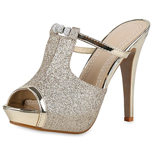 SCARPE VITA Damen Schuhe Sandaletten Glitzer Pantoletten Mules Party High Heels 160941 Gold 38