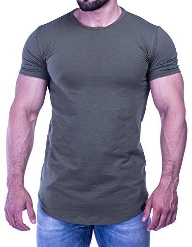 D.K Fit Oversize T-Shirt - Muscle Fit - Slim Fit - Fitness Herren Longshirt - Grau, Schwarz, Khaki/Olive Grün, Beige Olive