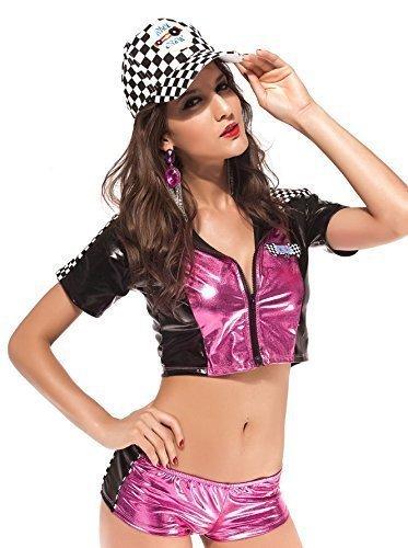 Damen Pink Sexy Speed Queen Racer Racing F1Mädchen Sport Fancy Kleid Kostüm Outfit (Sexy Racer Outfit)