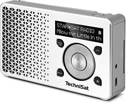 TechniSat DIGITRADIO 1 Digital-Radio Made in Germany (Klein, Tragbar, für Outdoor Geeignet) mit Lautsprecher, OLED-Display, DAB+, UKW, Favoritenspeicher und leistungsstarkem Akku, Weiß/Silber