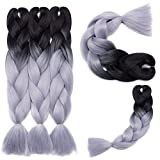 5 Pcs /500g 24'' Two Ombre Braiding Hair Synthetic Braid Hair Extensions Black+Silver