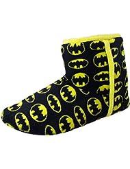 Batman De Lujo Botín Suave Tela Deslizable Negro Amarillo Hombre Niño Pantuflas