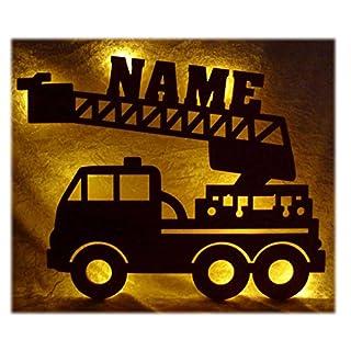 Schlummerlicht24 Led Feuerwehr Wagen   Feuerwehrauto Auto Name Geschenk  Deko Feuerwehrzimmer Kinderzimmer Geburtstagsgeschenk Junge