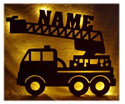feuerwehrlampe Schlummerlicht24 Led Feuerwehr Wagen - Feuerwehrauto Auto Name Geschenk Deko Feuerwehrzimmer Kinderzimmer Geburtstagsgeschenk Junge