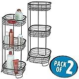 mDesign 2er-Set freistehendes Badregal aus Metall – rostfreies Badezimmer Regal mit drei Ebenen für Handtücher, Shampoo und Seife – Handtuchhalter stehend – mattschwarz