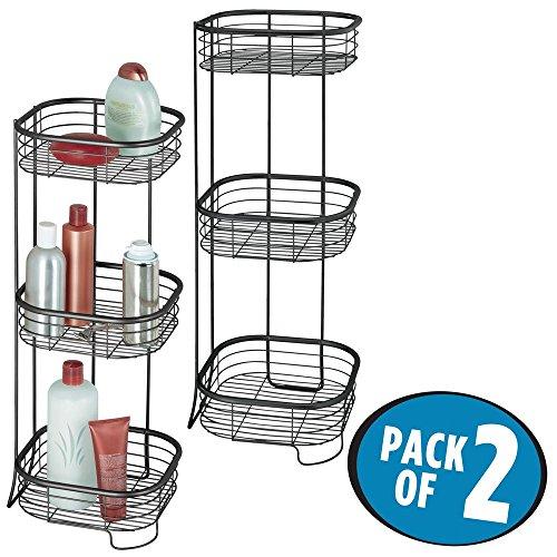 mDesign 2er-Set freistehendes Badregal aus Metall – rostfreies Badezimmer Regal mit drei Ebenen...