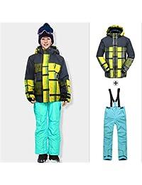 HXSKI Traje de esquí para niños, Baberos y Chaqueta de esquí para niños Traje de esquí Impermeable con Capucha de Invierno Chaquetas de Traje de Nieve,Suit3,116