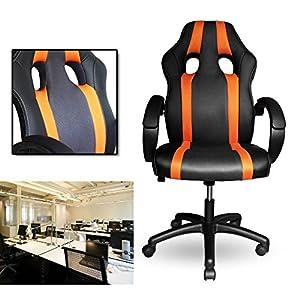 515gs9vJy4L. SS300  - HG-PU-Racing-Chair-Silla-de-oficina-Comfort-Executive-Chair-Silla-giratoria-naranja-Altura-ajustable-Capacidad-de-carga-200-kg