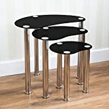 Home Discount® Cara Nest Of 3 Tables, Clear Glass Modern Furniture