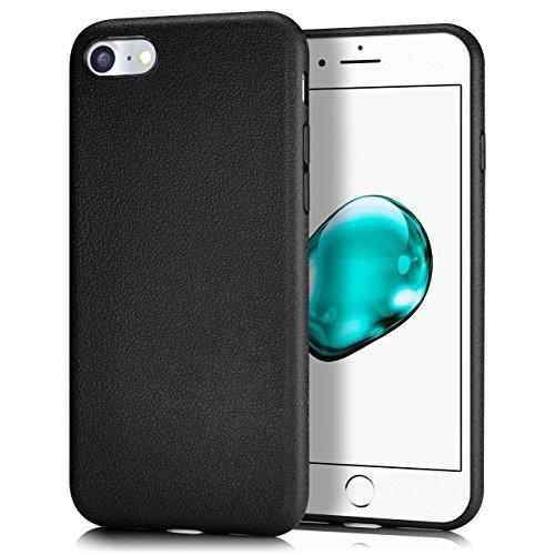 iPhone 7/8 Plus Hülle Silikon Rosé-Pink in Leder Optik [OneFlow Flex Back-Cover] Schutzhülle Etui Handy-Hülle für iPhone 7/8 + Plus Case Ultra-Slim Silikonhülle Tasche DEEP-BLACK