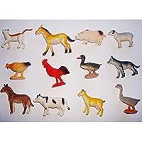 TOYMYTOY Animal modelo de plástico Figuras de animales Juguete de animales de granja 12pcs
