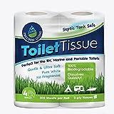 Klärtanksicheres Toilettenpapier (2-lagig, 4Rollen) für Wohnmobile, Camping und Boote, biologisch abbaubar. Natürliche Alternative zu Chemikalien für die Behandlung von Klärtanks, Reinigungsmitteln, Enzymen und Chlortabletten.