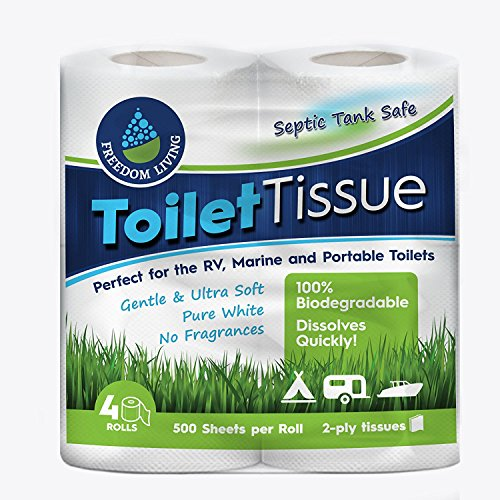 Price comparison product image Septic Tank Safe Toilet Tissue (2-Ply,  4 Rolls) For RV,  Camping & Marine,  Biodegradable,  - Natural Alternative to Septic System Treatment Chemicals,  Cleaner,  Enzymes,  Chlorine Tablets