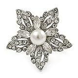 Avalaya - Anillo de Perlas de imitación de Cristal Blanco Transparente en Tono Plateado de Metal, 35 mm, Talla 7