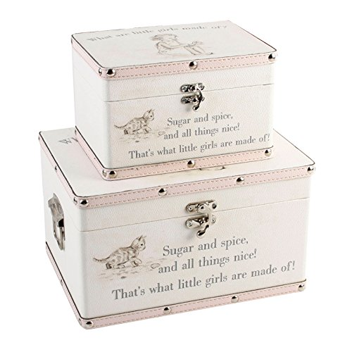 SET OF 2 STORAGE CASE GIRLS BABY KEEPSAKE CHRISTENING GIFT TRUNK CHEST MEMORIES