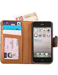 Fonerize Étui portefeuille en cuir véritable avec porte-cartes et lanière pour iPhone 5/5S Noir/marron clair