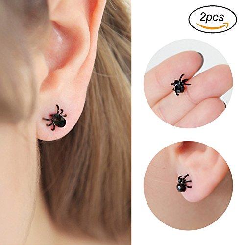 stecker Spinne Ohrringe Spinnen Spinne Ohrringe Ohrringe Halloween Halloween Mini Ohrstecker Black Spider-Ohrringe für Männer oder Frauen Nachtclub Zubehör Spinne Ohrringe (Spinne Kostüm Frauen)