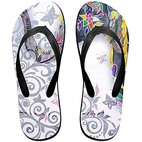 Zapatillas Chanclas Antideslizantes Unisex Mariposa Elefante Zapatillas de Playa Frescas Sandalia