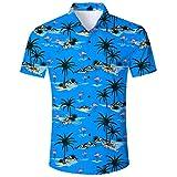 Idgreatim Camicia Tropicale da Uomo Camicie Stampate Camicia a Maniche Corte Camicia Vintage Anni '70 dal Design Classico