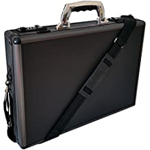 Pro aluminio Ejecutivo Portátil acolchada maletín Attache Case Black/Gun Metal