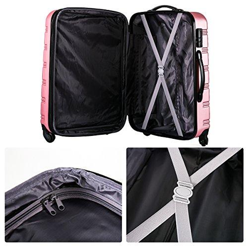Flieks Hartschalen Handgepäck Reisekoffer Trolley Koffer mit 4 Rollen und Zahlenschloss, XL-L-M(L, Pink) - 8