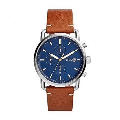 Fossil - Reloj The Commuter, cronógrafo, de piel color marrón claro