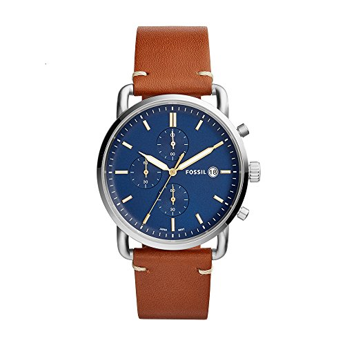 Fossil Herren Analog Quarz Uhr mit Leder Armband FS5401