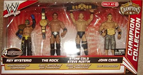 Mattel WWE Wrestling Exclusive Champion Collection Action Figure Rey Mysterio, The Rock, Steve Austin & John Cena [4 Championship Belts!] by WWE Exclusives