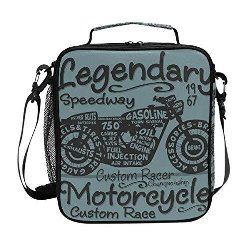 JSTEL Lunchtasche Vintage Motorrad Typographie Handtasche Lunchbox Lebensmittelbehälter Gourmet Bento Coole Tote Kühltasche Warm Tasche für Reisen Picknick Schule Büro -