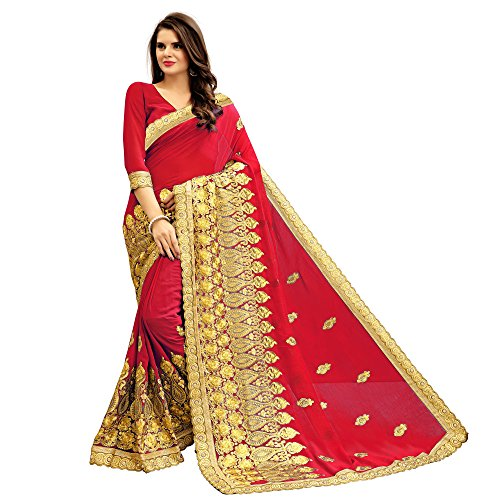 Siddeshwary Fab Women's red Georgette with Saree With Blouse Piece
