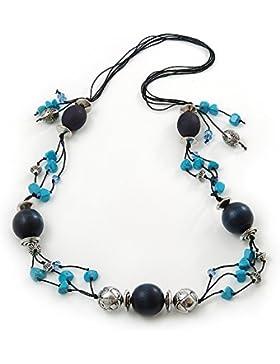 Lang, Türkis und dunkelblau, Holz-Bead, Halskette an Baumwollschnur