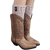 Malloom® punto Párrafo Breve gruesos aguja calentadores de la pierna Calcetines cubierta Boot polainas (caqui)