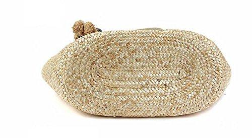 Borsa a spalla di Tote Rivestimento di paglia della spalla orso tessuto a maglia lavorata a maglia per la spiaggia di estate , beige beige